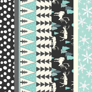 Reindeer Stocking Fabric - Turquoise, K80