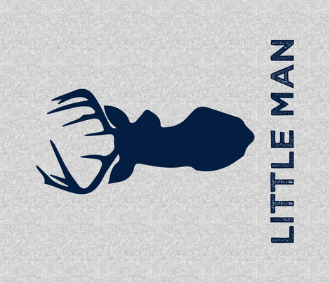 "large buck head (navy) with little man (light grey) - 42"" width fabric by littlearrowdesign on Spoonflower - custom fabric"
