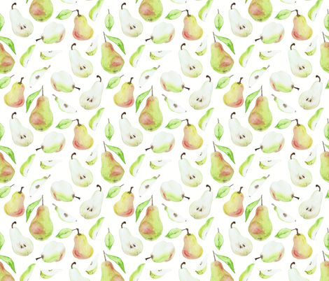 Whimsical Watercolour Pears in Off White fabric by suzzincolour on Spoonflower - custom fabric