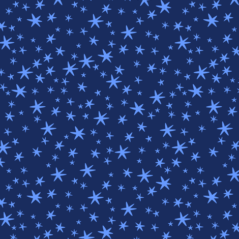 Blue stars on night sky fabric lilalunis spoonflower for Night sky material