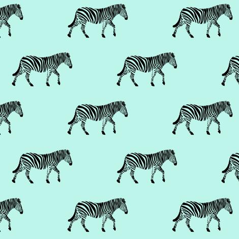 zebras on light blue fabric by littlearrowdesign on Spoonflower - custom fabric