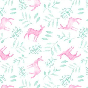 (small scale) watercolor deer - pink/light teal
