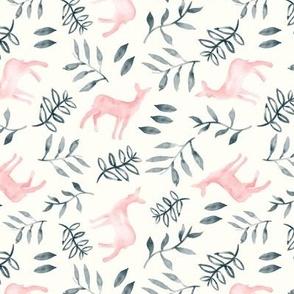 (small scale) watercolor deer - pink/grey