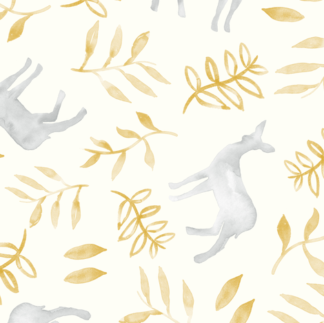 watercolor deer - silver & gold fabric by littlearrowdesign on Spoonflower - custom fabric