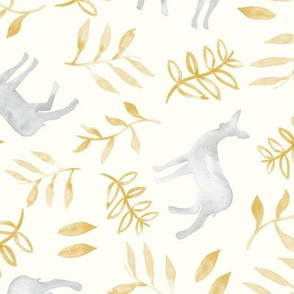 watercolor deer - silver & gold