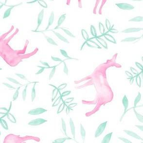 watercolor deer - pink/light teal