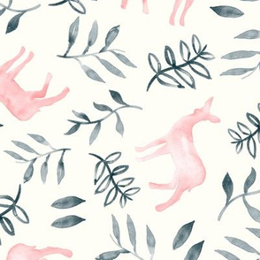 watercolor deer - pink/grey