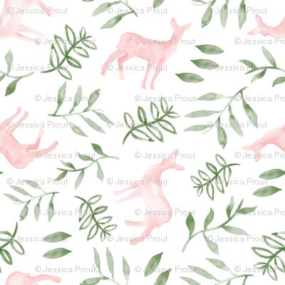 watercolor deer - pink & green