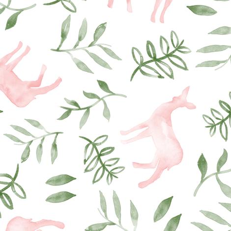 watercolor deer - pink & green fabric by littlearrowdesign on Spoonflower - custom fabric