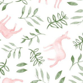watercolor deer - pink & green
