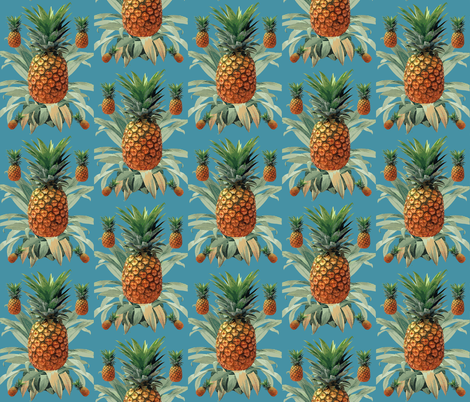 Pineapplestropical  beach Hawaii tropical blue fabric by chrissyink on Spoonflower - custom fabric