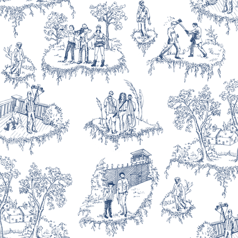 Zombie Toile - Blue on White fabric by julieprescesky on Spoonflower - custom fabric