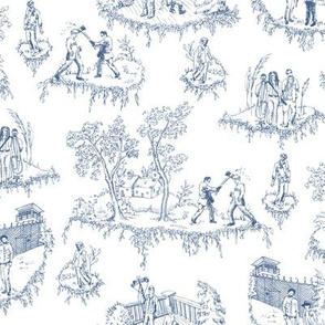 Zombie Toile - Blue on White