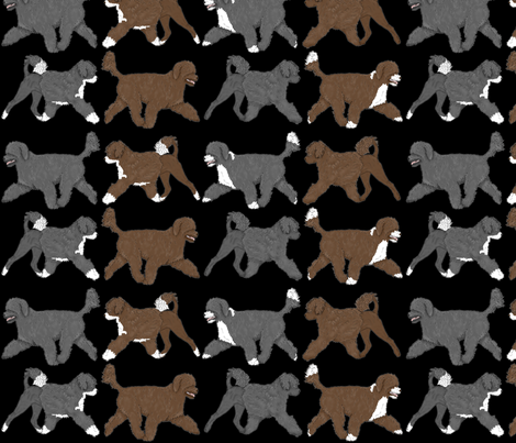 Trotting Portuguese water dog border B fabric by rusticcorgi on Spoonflower - custom fabric