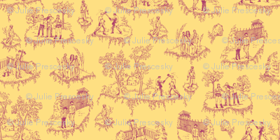 Zombie Toile - Pink on Yellow