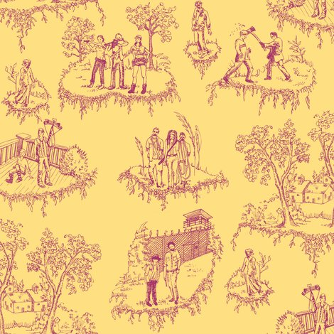 Toille_walking_dead_tile_pink_on_yellow_2_shop_preview