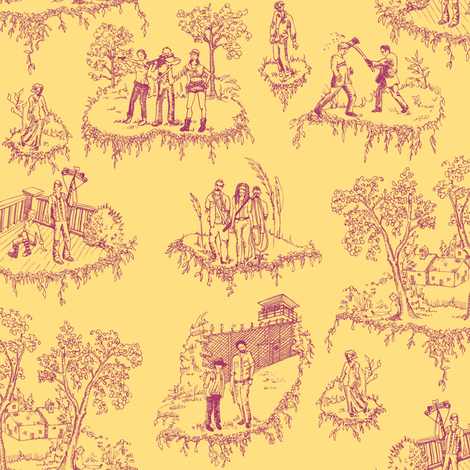 Zombie Toile - Pink on Yellow fabric by julieprescesky on Spoonflower - custom fabric