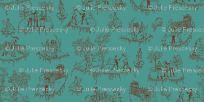 Zombie Toile - Red on Teal