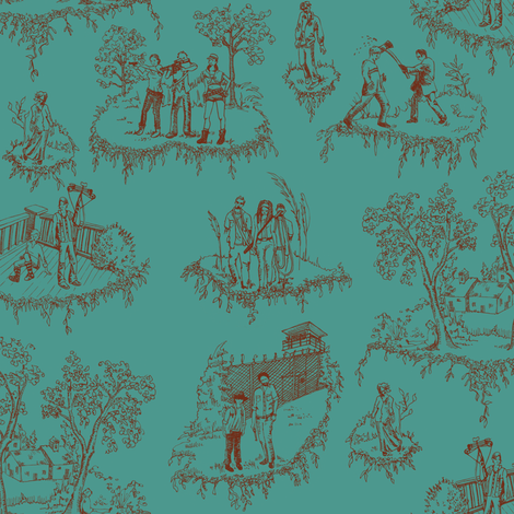 Zombie Toile - Red on Teal fabric by julieprescesky on Spoonflower - custom fabric