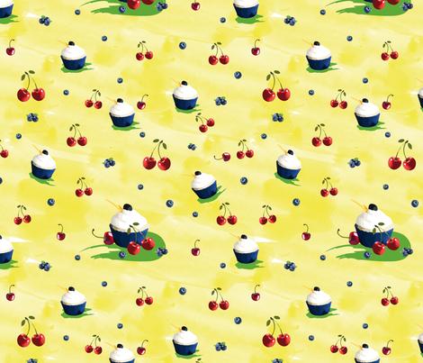 bluecherry cupcakes fabric by colorofmagic on Spoonflower - custom fabric