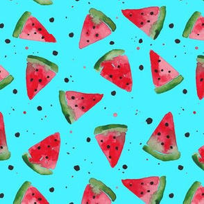 Watercolour Watermelon Splatter Spot - Aqua