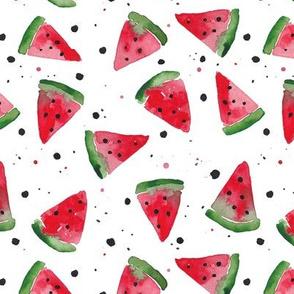 Watercolour Watermelon Splatter Spot - white