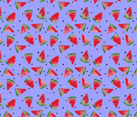 Watercolour Watermelon Splatter Spot - Lilac fabric by luciecookedesign on Spoonflower - custom fabric