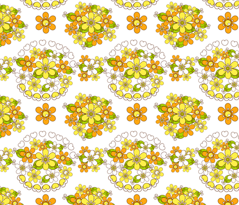 retroflower_bouquet_white fabric by 257 on Spoonflower - custom fabric