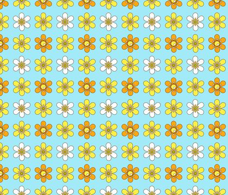 retro floret_lightblue fabric by 257 on Spoonflower - custom fabric