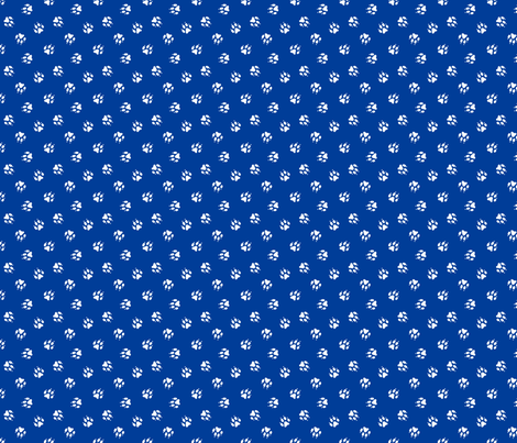 Trotting paw prints coordinate - patriotic blue fabric by rusticcorgi on Spoonflower - custom fabric
