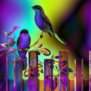 BIRDS ON A GLASS FENCE 2 FENCE purple blue GLOWING SKY