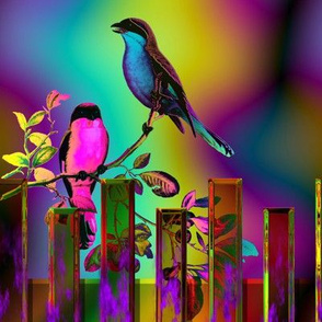 BIRDS ON A GLASS FENCE 3 fence fuchsia orange GLOWING SKY