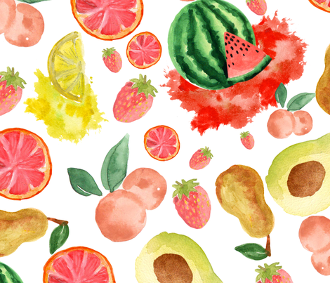 Fruits  Watercolor fabric by teart on Spoonflower - custom fabric