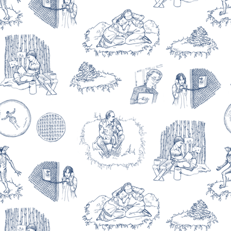 ST Toile 1 Blue on White fabric by julieprescesky on Spoonflower - custom fabric