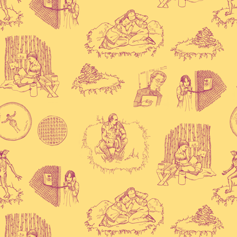 ST Toile 1 Pink on Yellow fabric by julieprescesky on Spoonflower - custom fabric