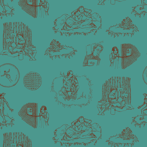 ST Toile 1 Red on Teal fabric by julieprescesky on Spoonflower - custom fabric