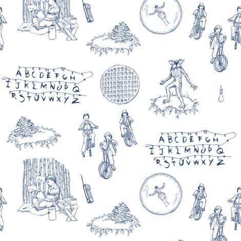 Stranger Things 2 Blue on White fabric by julieprescesky on Spoonflower - custom fabric