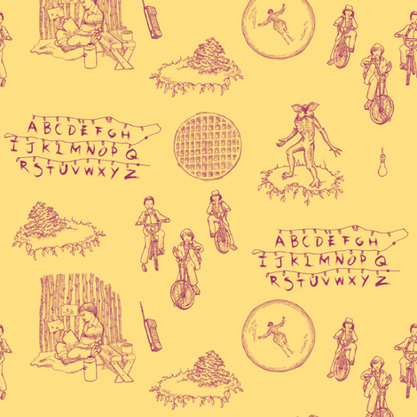 Stranger Things 2 Pink on Yellow fabric by julieprescesky on Spoonflower - custom fabric