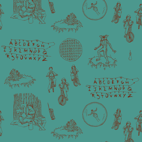 Stranger Things 2 Red on Teal fabric by julieprescesky on Spoonflower - custom fabric