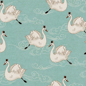Valentine Swans (mint)