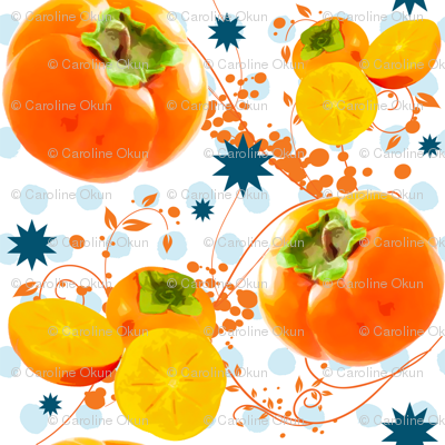 Watercolor Persimmon polka dot surprise