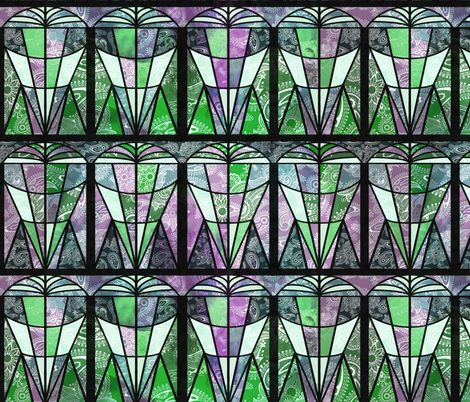 art_deco-01_FLATgreen fabric by kociara on Spoonflower - custom fabric