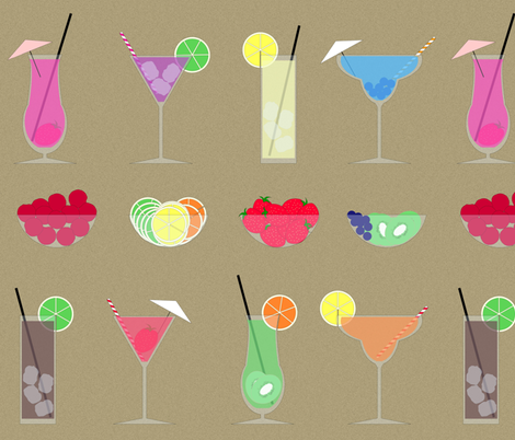 Fruity Summer Cocktails fabric by fatcat_designs on Spoonflower - custom fabric
