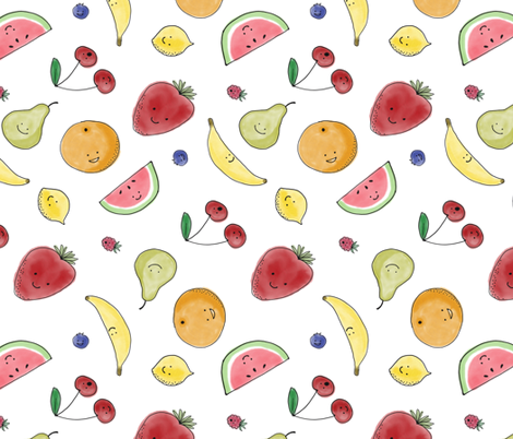 Happy little fruits fabric by macoe on Spoonflower - custom fabric