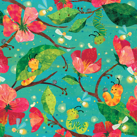Sweet Dreams Caterpillars & Fireflies fabric by sarah_treu on Spoonflower - custom fabric