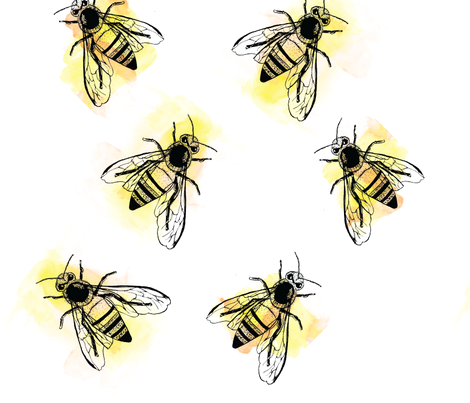 watercolor bees fabric by xtinew on Spoonflower - custom fabric
