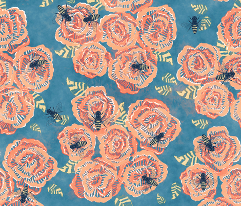 Bees & Flowers Watercolor Design fabric by modarie on Spoonflower - custom fabric
