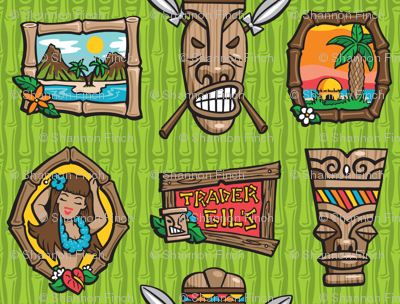 Kitsch Tiki - Framed! - Green