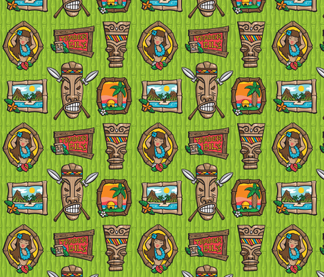 Kitsch Tiki - Framed! - Green fabric by shannanigan on Spoonflower - custom fabric