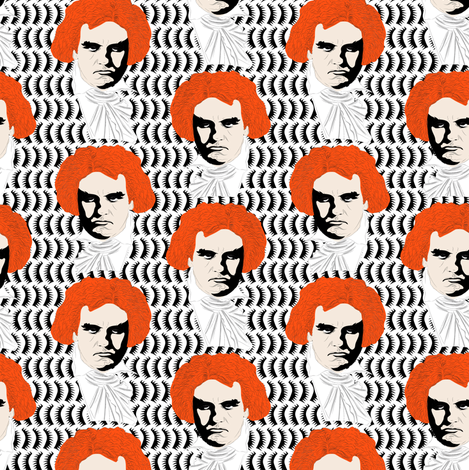 Beethoven orange on white fabric by susiprint on Spoonflower - custom fabric